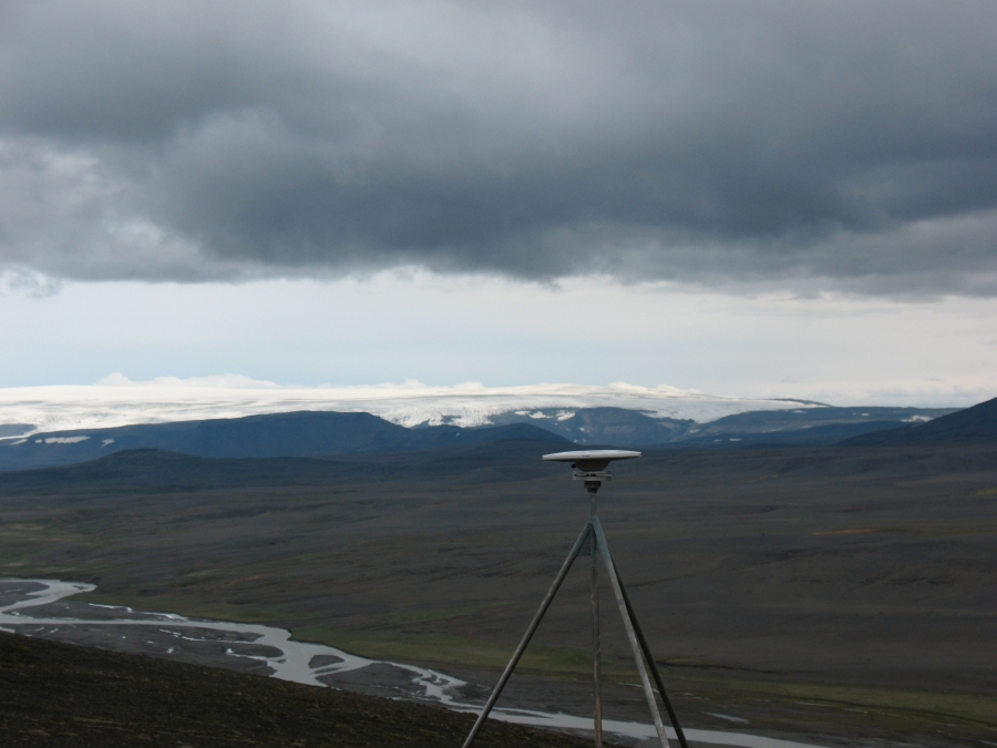 A GPS receiver is part of Iceland's network of 62 such receivers that geoscientists are using to detect movements of the Icelandic crust.