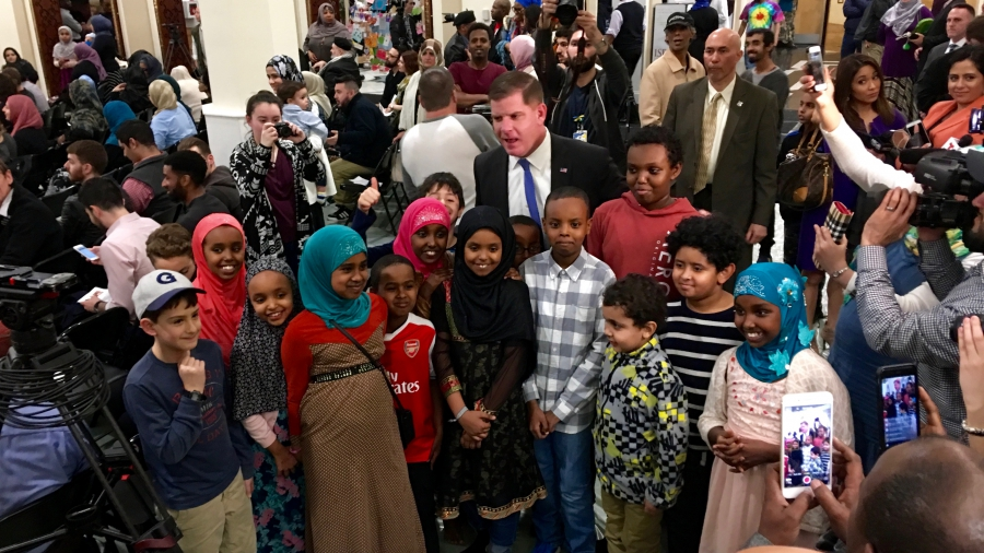 Boston Mayor Marty Walsh attended a town hall meeting at the Islamic Society of Boston Cultural Center on the evening of February 24, 2017.