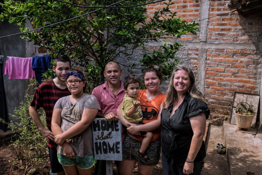The Hernandez family at home in El Salvador