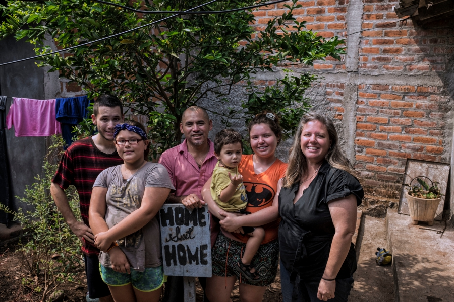 The Hernandez family at home in El Salvador