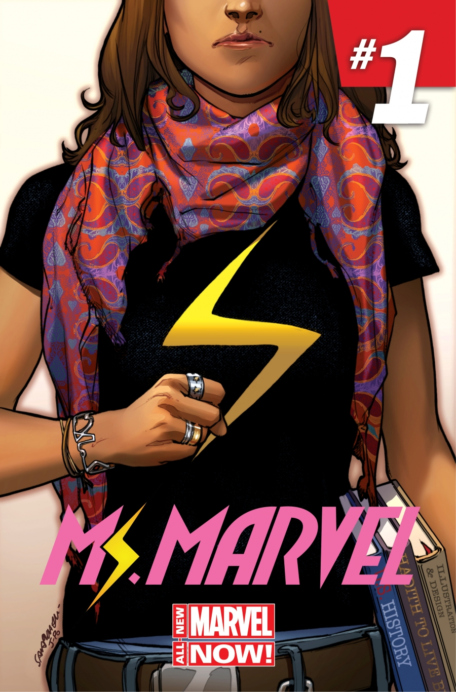 "Cover art for Marvel Comic's new ""Ms. Marvel"" comic book series, featuring a 16-year-old New Jersey girl named Kamala Khan."