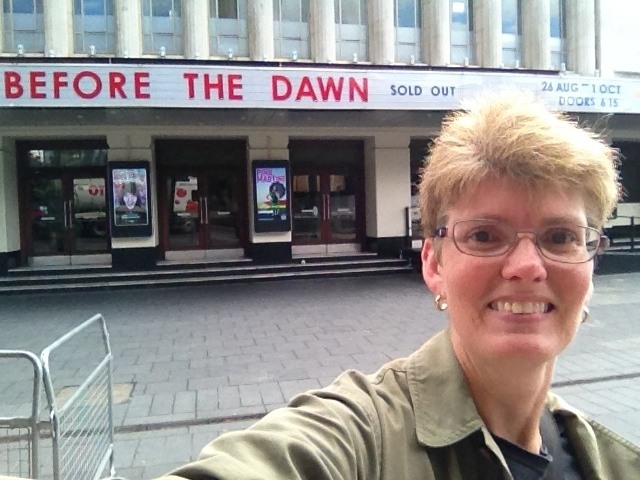 A selfie in front of the marquee at the Hammersmith Apollo. Kate Bush as called her series of concerts 'Before the Dawn'