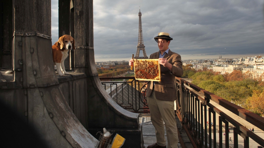 Audric de Campeau and his beagle Filou on the roof of the Ecole Militaire in Paris.