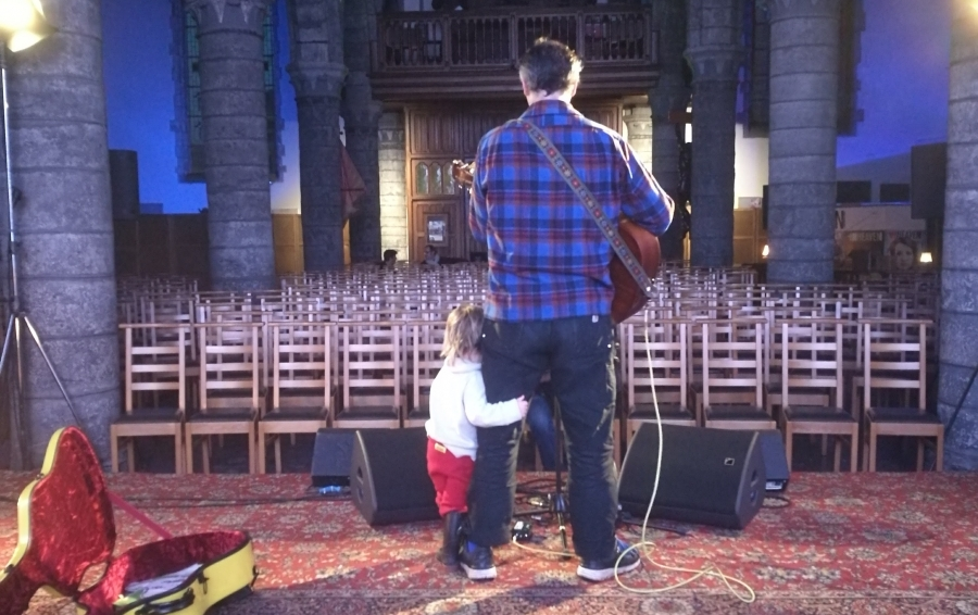 Phil Elverum of Mount Eerie with his daughter.