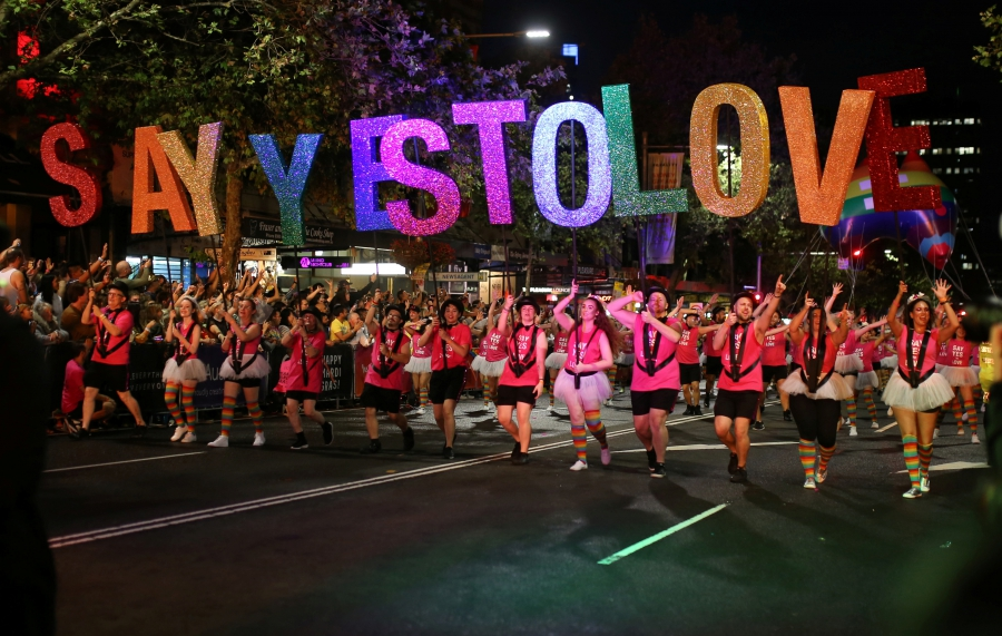 Participants march during the annual Sydney Gay and Lesbian Mardi Gras in Sydney, Australia, March 4, 2017.