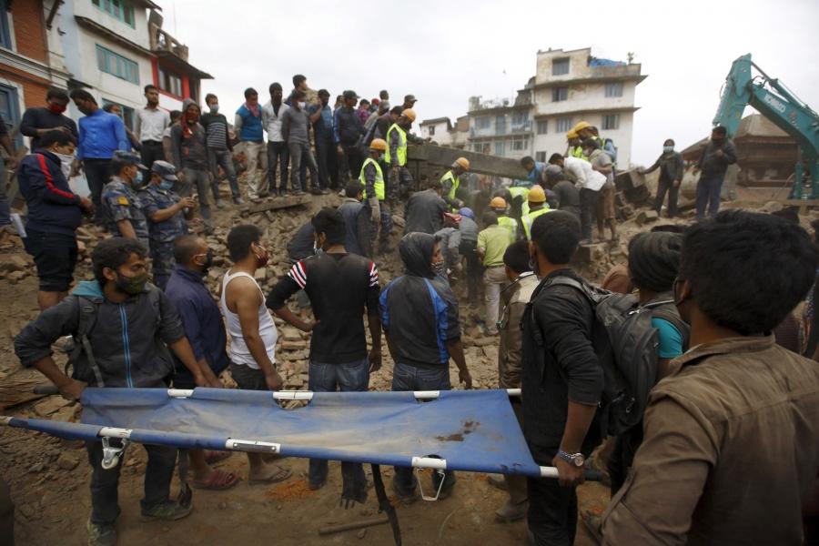 Rescue workers search in Kathmandu