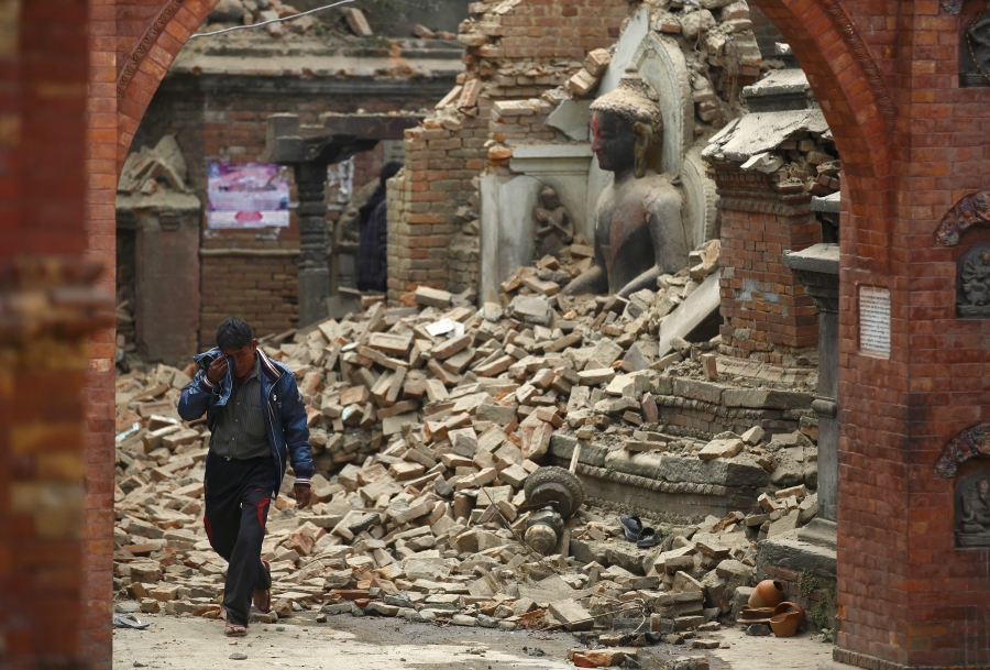 Rubble is everywhere in the Kathmandu Valley
