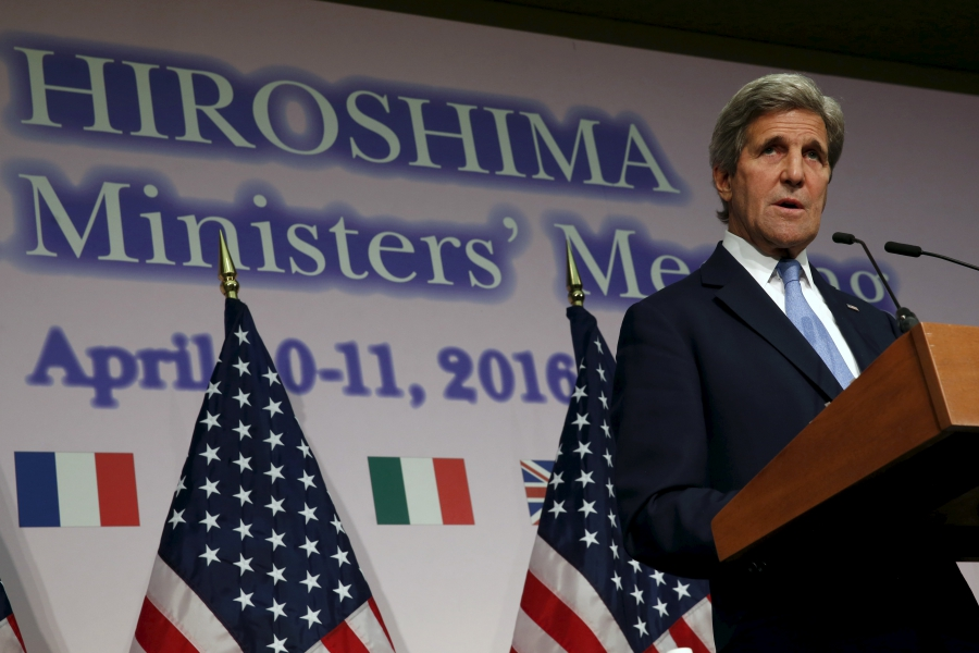 U. Secretary of State John Kerry holds a news conference at the conclusion of the G7 foreign ministers meetings in Hiroshima, Japan, April 11, 2016.  Credit:     Jonathan Ernst/Reuters