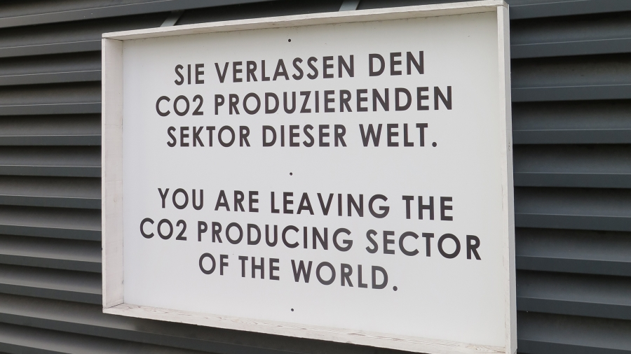 This sign, outside Younicos's Berlin headquarters, plays off others that used to hang at crossing points in the Berlin wall, but with a very different message. The company has developed technology that softens the destabilizing impact of large amounts of
