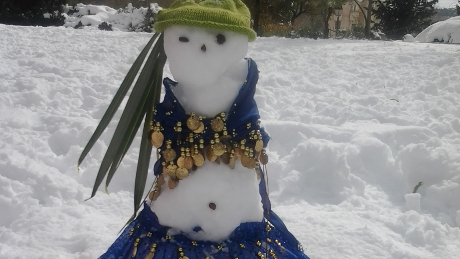 Belly dancing snow-woman, made by Jerusalem resident Tamar Cohen and her two young daughters.
