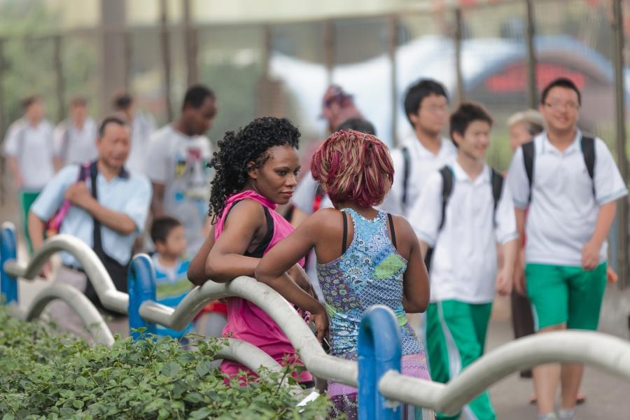Two women on the bridge, May 7, 2012
