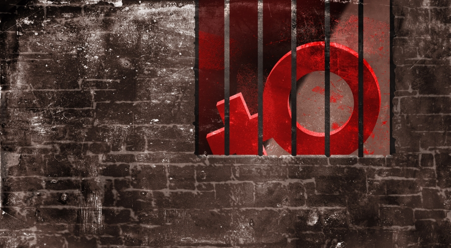The icon for female is behind bars surrounded by a brick wall.