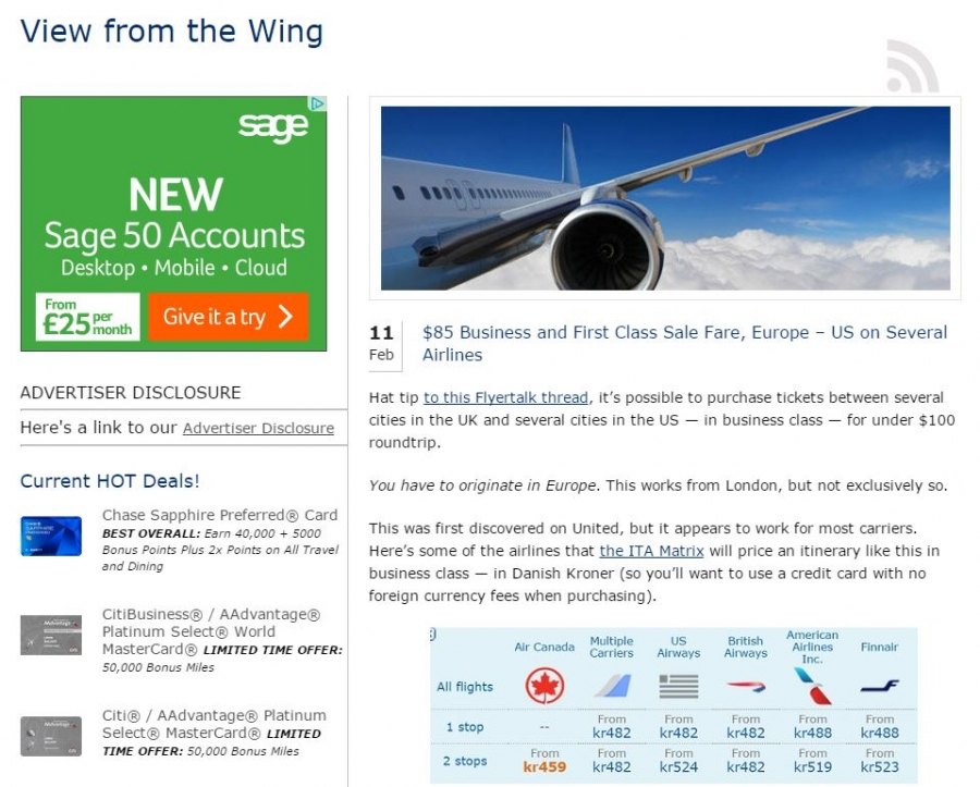View From the Wing website helped consumers yesterday navigate their way to cheap airfares.