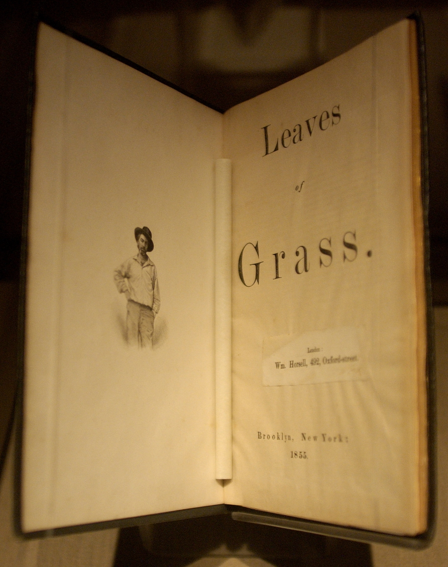 "An original copy of ""Leaves of Grass,"" published in 1855, is displayed at the New York Public Library"