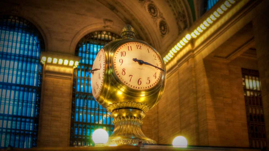 The clock in Grand Central Station in New York.