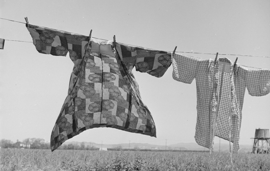 Two kimonos in the wind on a laundry line