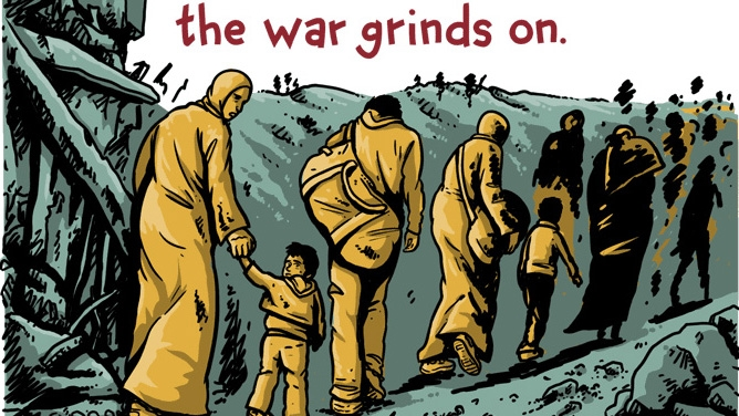 """A panel from Andy Warner's """"The Displaced."""""""