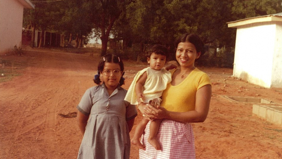 Author Nayomi Munaweera was born in Sri Lanka, and then moved with her family to Birnin Kebi, Nigeria, to avoid civil war. Here Munaweera stands with her mother, Mali, and younger sister, Namal.