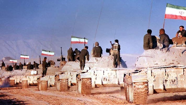 Islamic Republic of Iran Army T-55s move to front line of Iran-Iraq War.