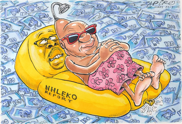 In June 2015, a report by South Africa's Minister of Police Nkosinathi Nhleko said President Jacob Zuma was not liable to pay for any of the features built at Zuma's Nkandla home, including the swimming pool and amphitheatre.  Nhleko's report called the s