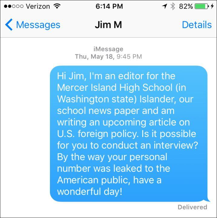 A screenshot of Teddy Fischer's text to Secretary of Defense James Mattis.