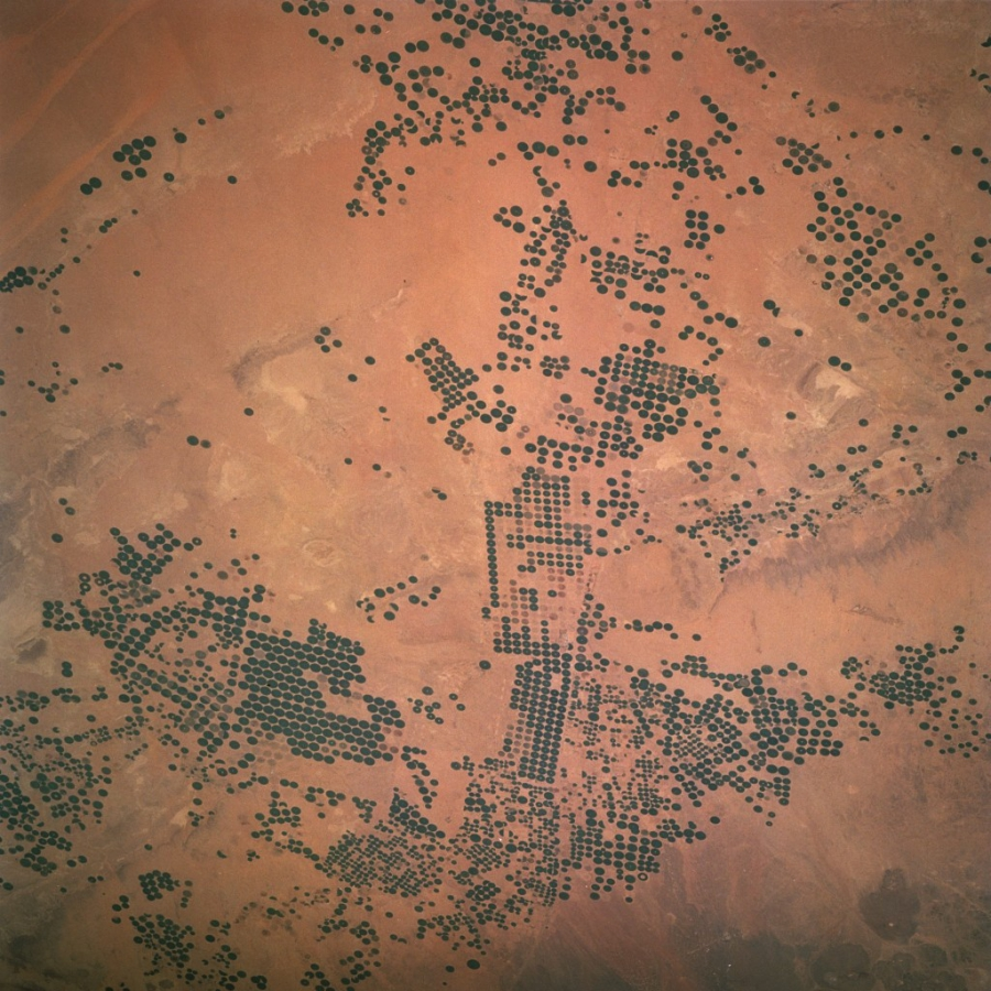A photo of the irrigation technique used in Saudi Arabia captured from the US Space Shuttle Columbia in 1997.