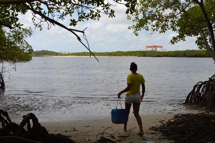 The Atlântico Sul shipyard looms in the distance as Valeria Maria de Alcântara heads toward a mangrove to harvest shellfish.