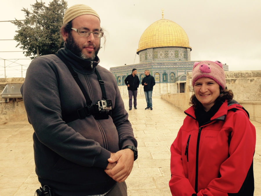 Gilad Hadari, a religious Jewish activist, and Hadassah Lev visit the Temple Mount as part of a campaign to allow Jews to pray there.