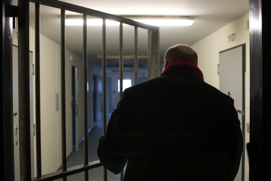 Peter Wasem, head of deportation at the Eisenhüttenstadt Refugee Center gives a tour of the prison used to hold deportees.