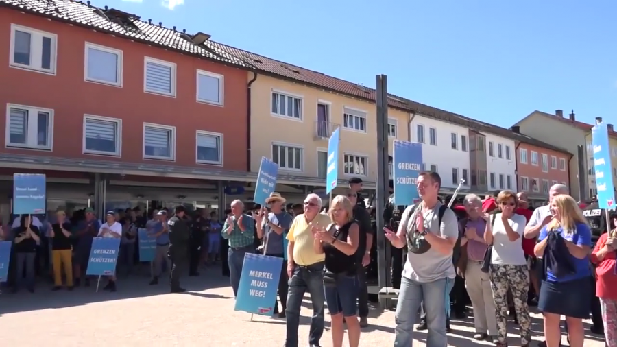 The crowd at an Alternative for Deutschland anti-immigrant rally in Traunreut on Aug. 13, 2016.