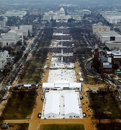 aerial photo of Trump inauguration taken at 12:01pm