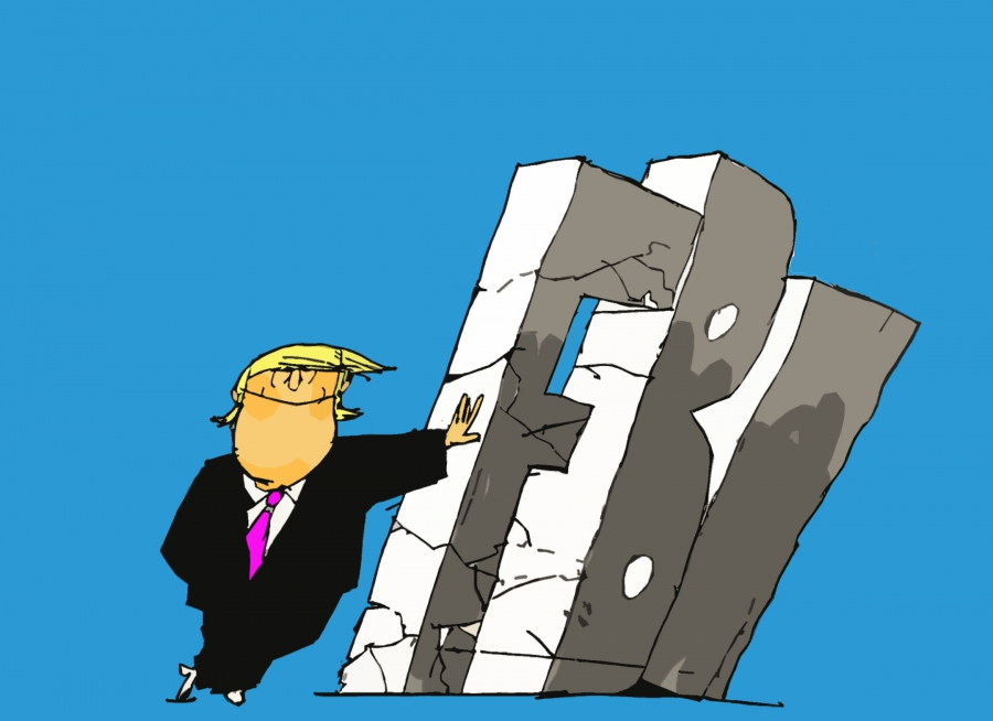 cartoon showing Trump kicking down the FBI