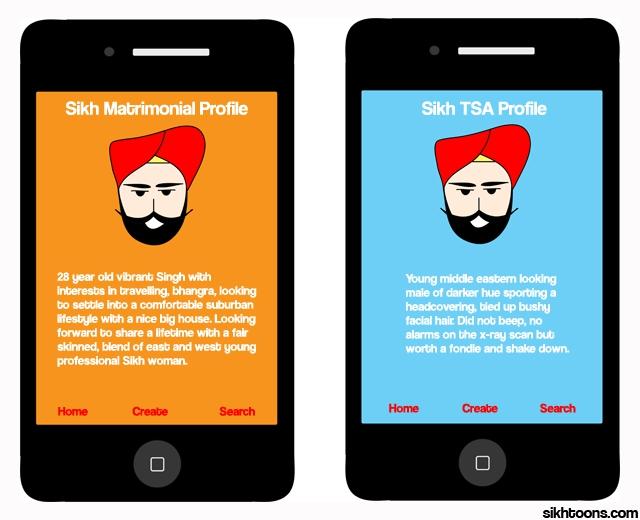 cartoon of a hypothetical TSA mobile app about profiling men in turbans
