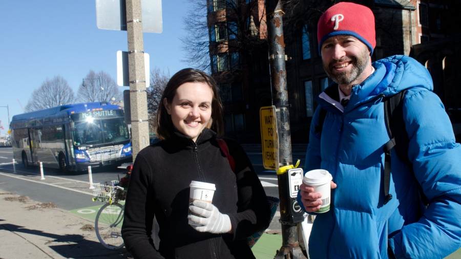 Safe street advocates Stacy Thompson and Brendan Kearney in Boston.