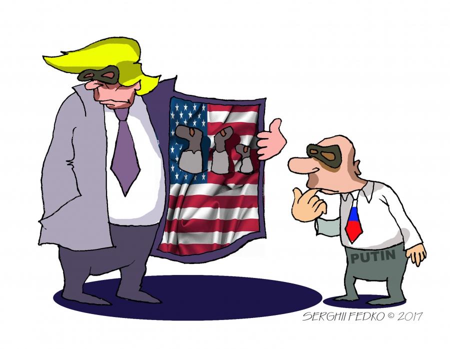 cartoon of Trump opening his coat to Putin, sharing information