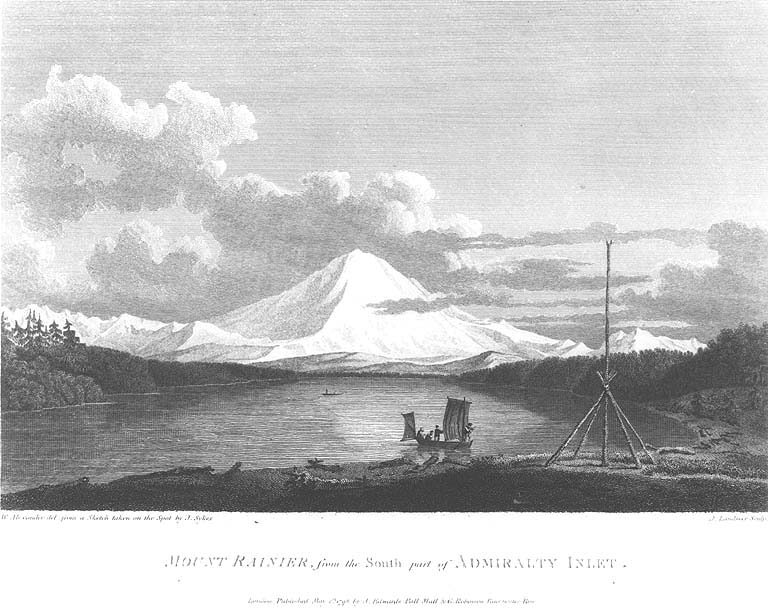 Mount Rainier, from the south part of Admiralty Bay. Engraving from a sketch by J. Sykes, a member of Captain Vancouver's crew, in 1792.