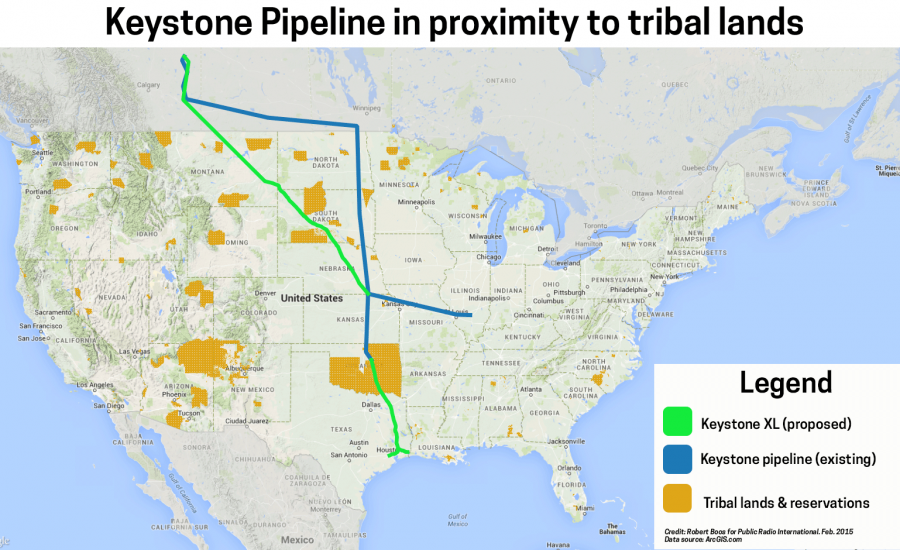 A map showing the proposed route of the Keystone XL pipeline and its path through tribal lands.