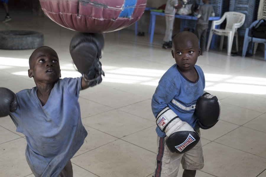 Young boys boxing