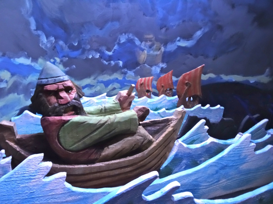 A scene from one of the Icelandic Sagas as depicted in an exhibit at the Settlement Center in Borganes, Iceland