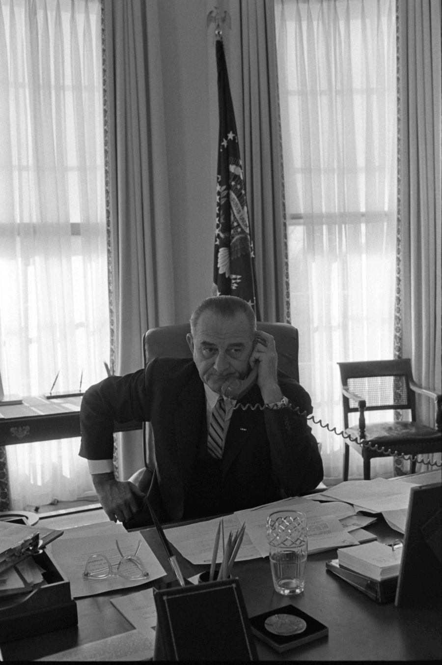 President Lyndon B. Johnson on the telephone