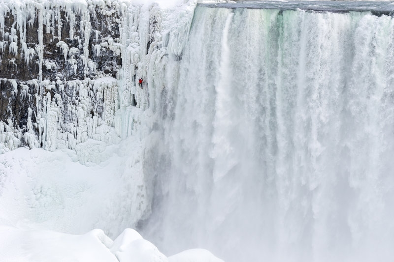 Canadian adventurer Will Gadd is the first person to ever climb up frozen ice on Niagara Falls