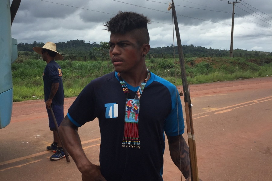 19-year-old Garlier Jacinto is one of about 150 indigenous protesters who commandeered a few dozen buses
