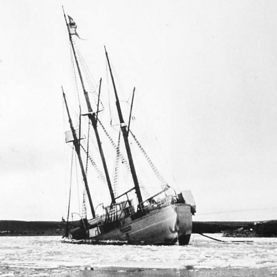 Maud sinking in her moorings in the winter of 1930-31.