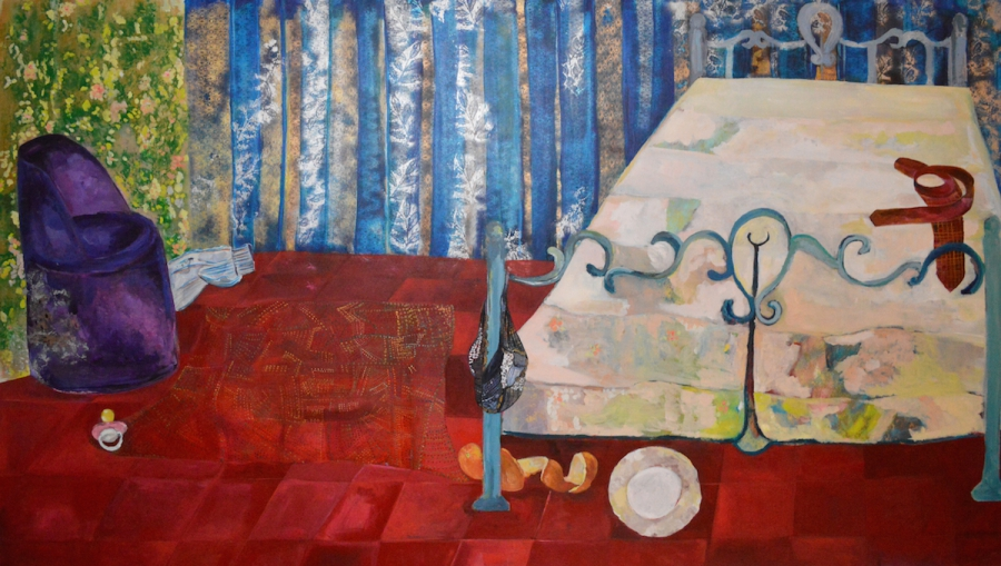 "One of Rana Samara's untitled paintings of Palestinian bedroms after a couple has had sex. ""One woman told me that her husband put his hand in her mouth to keep her voice down."""