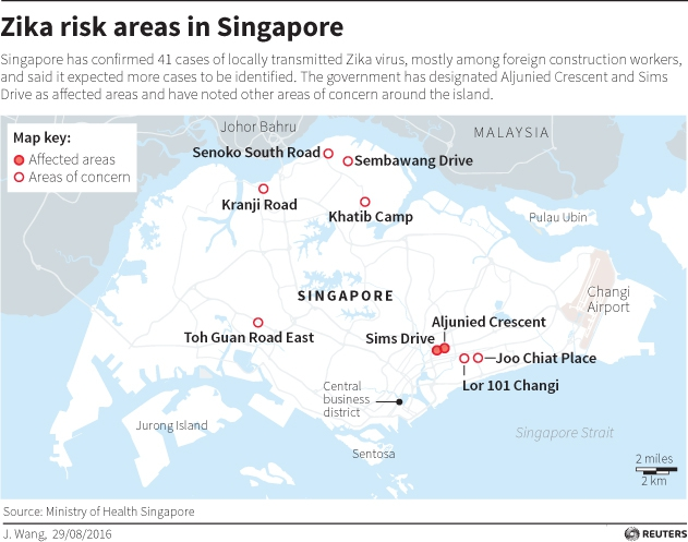 Map of location at risk of Zika in Singapore