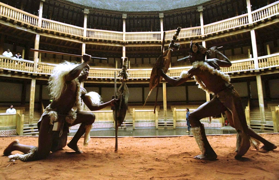 South African actors from the 'Umabatha: the Zulu Macbeth' production perform a mock fight in a rehearsal at Shakespeare's Globe.  The play was performed at the Globe entirely in Zulu.