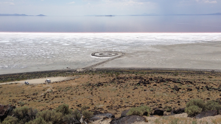 Spiral Jetty in the distance