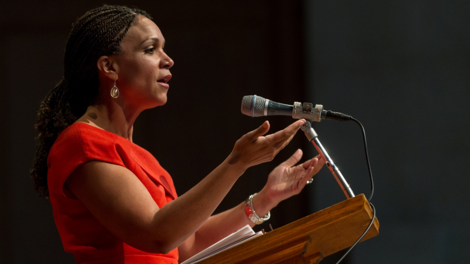 Melissa Harris Perry addresses students at Wake Forest University.