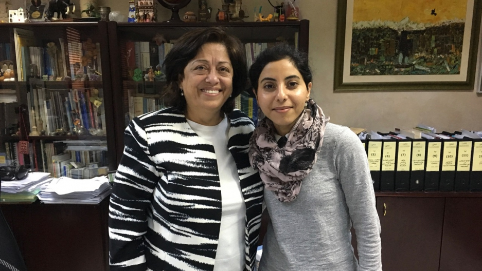 Jordanian lawyer and human rights activist Asma Khader, left, with The World's Shirin Jaafari
