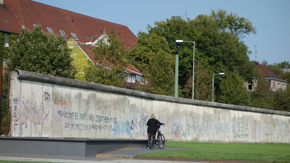 Berlin Wall remnant at Bernhardstrasse, where the wall once ran down the middle of a street